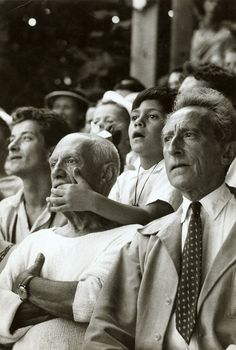 Pablo Picasso, son Claude, & Jean Cocteau at a Bullfight in France, 1955. Photo by Brian Brake
