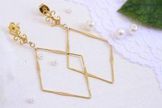 Rhombus earrings, Diamond shape earrings, Gold rhombus earrings, Bride earrings, Bridesmaid gift, Bridesmaid earrings #elegantdesign #statementjewelry #occasionwear