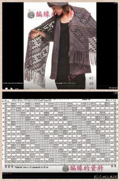 19 ideas crochet shawl and wraps blankets for - Stola Stricken Filet Crochet, Débardeurs Au Crochet, Crochet Lace Scarf, Crochet Shawls And Wraps, Crochet Woman, Crochet Chart, Crochet Scarves, Crochet Clothes, Crochet Ideas