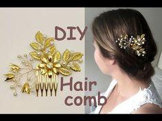 Easy DIY Gold Leaves Hair Vine Bridal Comb Hairpiece Headpiece Tutorial - YouTube