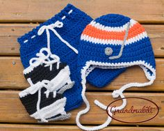EDMONTON OILERS BABY Set Crocheted Hat  Pants and by Grandmabilt, $54.00 Baby Boy Hockey, Baby Boy Hats, Baby Boy Outfits, Baby Boys, Hockey Hats, Hockey Helmet, Hand Crochet, Crochet Baby, Hockey Outfits