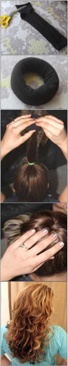 How To Use A Sock To Get Beautiful Curly Hair Without Heat: Cut off the toe of the sock,  roll the sock into a ring. Slightly damp hair & flip head over & gather hair put through the hole spread around the sock evenly, it should go up and over the sock & then get tucked under it, continue rolling the hair onto the sock you should have a  bun on top of your head. Now go to sleep In the morning remove the bun and TA-DA! You have a head full of soft pretty curls..