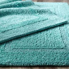 Beau Reversible Cotton Turquoise 21x34 Bath Rug