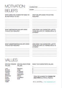 4-page writing worksheet for working out character motivation.: