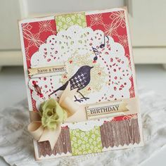 birds, flowers and a doily... who could ask for more in a card?