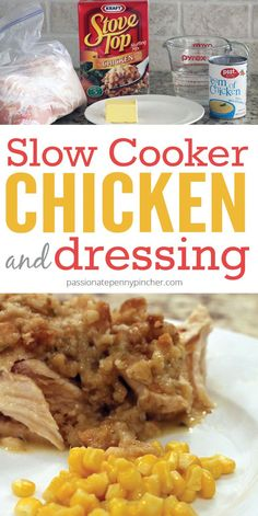 You'll love the comfort of this slow cooker chicken & dressing recipe - it's an easy family pleasing meal that comes together in minutes!