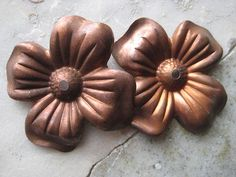 2 Stamped Copper 38mm Flower Findings  center hole by StarPower99, $3.00