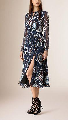 Ink Tie-dye Print Silk Crepe de Chine Dress - Image 1