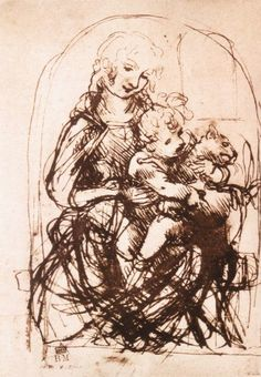 Leonardo da Vinci, Sketch for the Madonna of the Cat, ca. 1478-80. Pen and brown ink, stylus incised, 13.2 x 9.6 cm. The British Museum, London.