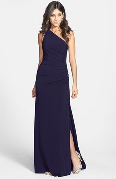 Free shipping and returns on Laundry by Shelli Segal Beaded Panel One-Shoulder Jersey Gown (Regular & Petite) at Nordstrom.com. One-shoulder gown is fashioned with a panel of shimmering beads that lead down to an alluring side slit. Ruching extends through the waistline to flatter the figure.