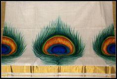 Kerala Mural Sarees, Peacock feathers