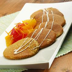 Pancake integrale al Grana Padano, agrumi e crema di banane