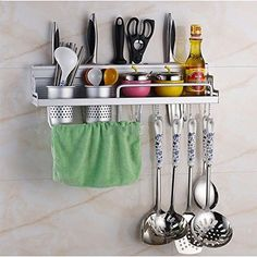 Kitchen Wall Pot Pan Rack, 6-in-1 Multifunctional Wall Hanging Tools Stainless Steel [US STOCK]