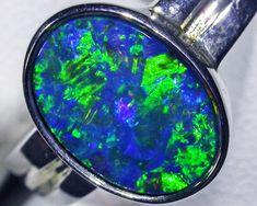 gem doublet Opal Ring BU 419 doublet opal ring in silver Australian opal
