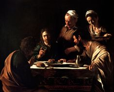 Caravaggi: Emmaus, 1606_Milan. Tenebrism, in which darkness becomes a dominating feature of the image