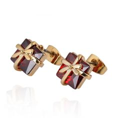 10mm 18K Gold Plated Fashion Gift Box Shape Inlay Ziron Women Ladies Copper Earrings