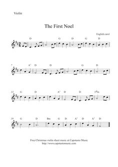 "Violin Christmas sheet music~ ""The First Noel"" in the key of B minor"