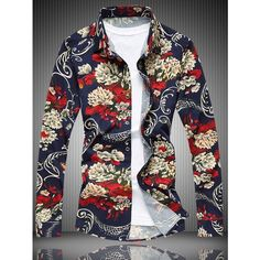 Long Sleeve All Over Floral Printed Shirt ($22) ❤ liked on Polyvore featuring men's fashion, men's clothing, men's shirts, men's casual shirts, mens long sleeve shirts, mens longsleeve shirts and mens long sleeve casual shirts