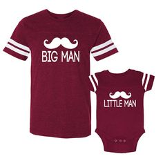 Big Man & Little Man Matching Dad And Baby Father Baby Daddy Baby Boy Son Burgundy Football T-Shirts Dad Baby Outfits (WM115_116 White)