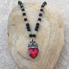 Heart Pendant Necklace Black Matte Onyx Necklace Handmade