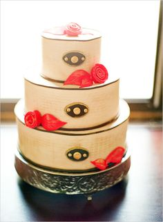 white, red and black wedding cake