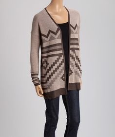 Mocha & Brown Zigzag Knit Open Cardigan #zulilyfinds