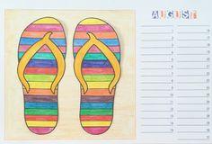 Kunst in der Grundschule: Bastelkalender August (bunte Flip Flops im Sand)