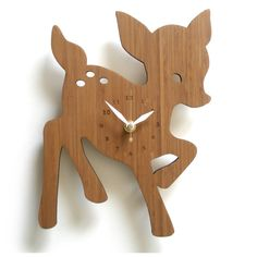 decoylab Fawn Bamboo Wall Clock--who doesn't love bambi Forest Nursery, Woodland Nursery, Casa Kids, Cute Clock, Bamboo Wall, Wood Clocks, Woodland Theme, Forest Theme, Nursery Inspiration