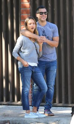 Pin for Later: 96 Ways to Wear Denim, Courtesy of Jessica Alba  Jessica proved that it's possible to match your SO without seeming so cheesy. All you need are a gray top and medium-wash denim, and you're set!