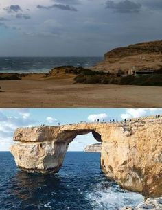 The 'Azure Window' in Malta now and then. Photo above: Roger Chessnell, below: file photo. The window collapsed during a storm.
