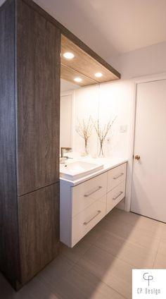 White and dark wood bathroom decor Dark Wood Bathroom, Small Bathroom Furniture, Laundry Room Bathroom, Mini Bad, Washbasin Design, Wardrobe Room, Bathroom Design Inspiration, Bathroom Design Luxury, Bathroom Organization