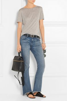 Blue stretch-denim Button and concealed zip fastening at front  90% cotton, 6% polyester, 4% elastane Machine wash Designer wash: Amour