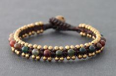 Fancy Jasper Brass Dotty Bracelet by XtraVirgin on Etsy, $8.00
