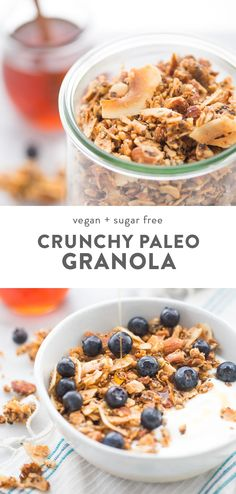 This crunchy paleo granola recipe is my favorite breakfast! Not only is it super easy to make, but it's perfectly crispy and versatile. With nuts, seeds, and coconut, this vegan paleo granola recipe is a pantry staple for our family. #paleo #breakfast #granola #cleaneating