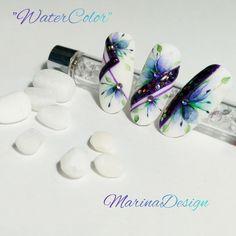 Gel Designs, Nail Art Designs, Art Deco Nails, Nail Art Wheel, Water Color Nails, Nail Stencils, Ink Color, Flower Decorations, Manicure