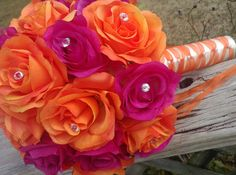 Orange Fuchsia Bouquet, Orange Rose Bouquet, Orange Pink Bridal Bouquet, Orange Fuchsia Wedding, Pin Orange Rose Bouquet, Bridal Bouquet Pink, Pink Flower Bouquet, Silk Flowers, Flower Bouquet Wedding, Floral Wedding, Tangerine Wedding, Orange Wedding, Orange Pink