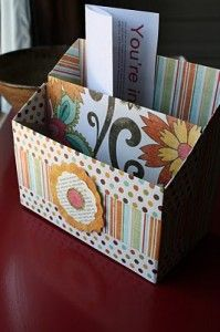 Organizer made out of cereal boxes.