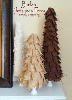 Simply Designing with Ashley: Shabby Ruffle Burlap Christmas Trees