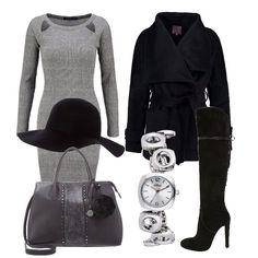 Tubino in maglia grigio Sharkskin, cappotto corto nero, stivali alti in suede, borsa a mano canna di fucile, orologio gioiello, cappello morbido. Un outfit semplice ma deffetto.