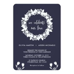 Blue and White Wreath and Flowers Wedding Card