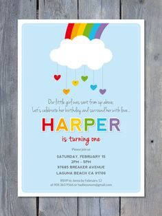 HEARTS & RAINBOWS Printable Birthday Invitation by Sweet Scarlet Designs. Perfect for a girl or boy Birthday. Rainbow Birthday Invitations, Birthday Party Invitation Wording, Custom Birthday Invitations, Rainbow Birthday Party, Rainbow Theme, 3rd Birthday Parties, Boy Birthday, Rainbow Heart, Rainbow Baby