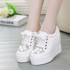 Cheap Women's Fashion Sneakers, Buy Directly from China Suppliers:    Fashion Ladies Sneakers Platforms Hight Increasing Rhinestone Spring Weaving Pure Color Ladies Sweet Sneakers