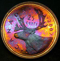 2007 Canada PL Quarter with Full Spectrum Neon PQ Tone