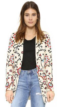 Alice + Olivia Chriselle Embroidered Long Blazer