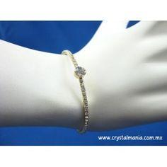 Pulsera dorada con cristales estilo 55014