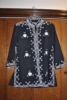Joycelyn's Vintage sz 14 Asian inspired jacket, BLACK/ WHITE EMBROIDERY EMBELISH #Joycelyns