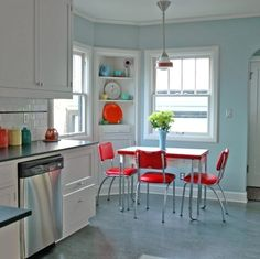 Baby blue and bright red retro kitchen.