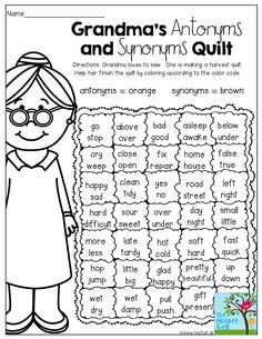 Grandma's Quilt - Antonyms and Synonyms! (Color by the code) This is a fun activity, allowing the students to color, but also they will show their understanding of synonyms and antonyms. Teaching Grammar, Teaching Language Arts, Classroom Language, Speech Language Therapy, English Language Arts, Language Activities, Student Teaching, Reading Activities, Reading Skills