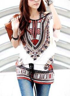 2016 New Arrival Women's Floral Printed Round Neck Blouse Loose Batwing Sleeve Casual Tunic Tops Ethnic Fashion, Boho Fashion, Fashion Outfits, Fashion Trends, Jeans Fashion, Fashion Sale, Fashion Clothes, Fashion Online, Estilo Hippie Chic