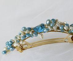 bridal hair barrette something blue swarovski barrette by Phaness, $32.00